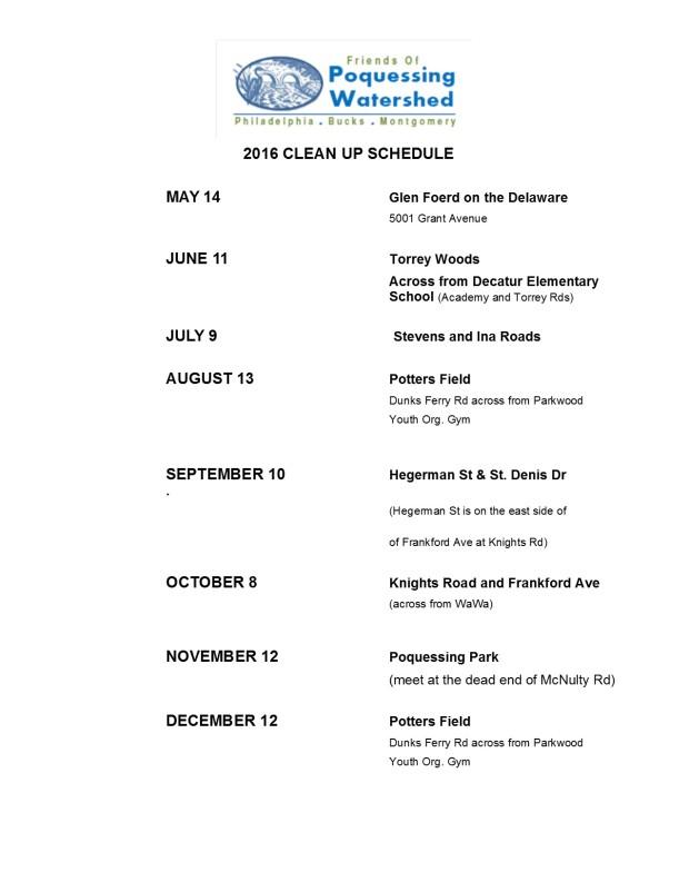 2016 stream clean-up schedule